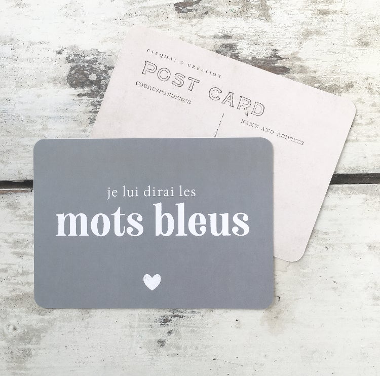 Image of Carte Postale MOTS BLEUS