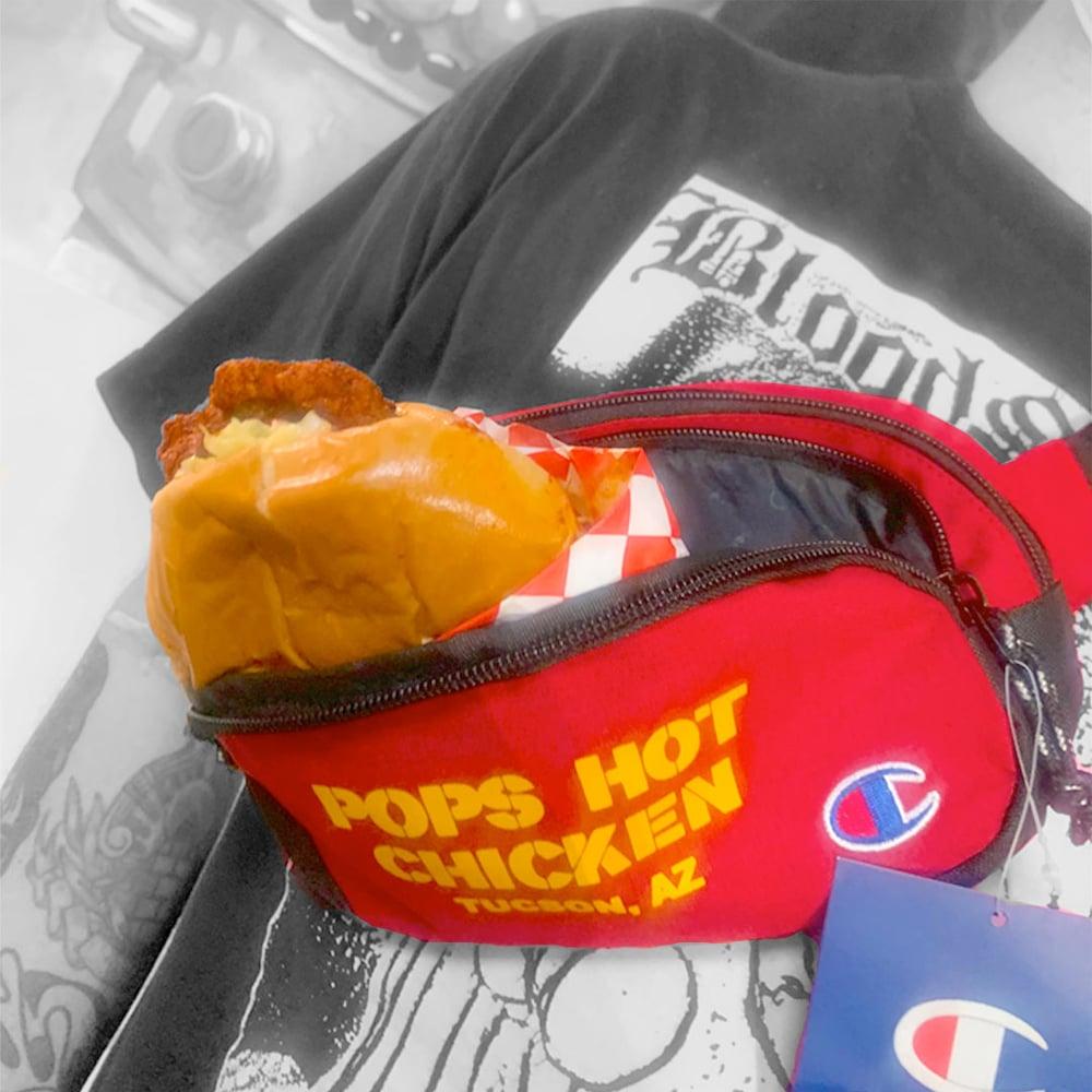 """""""POP'S HOT CHICKEN"""" - Red Champion Bag"""