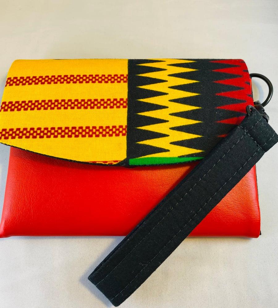 Image of Designs By IvoryB Kimiya Wallet-Kente Yellow Red Black Ankara African Print