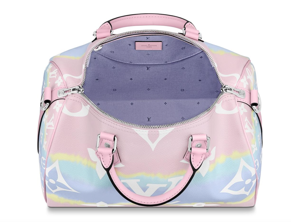 Image of Louis Vuitton Speedy Escale Bandouliere Pastel Pink Monogram Canvas Cross Body Bag