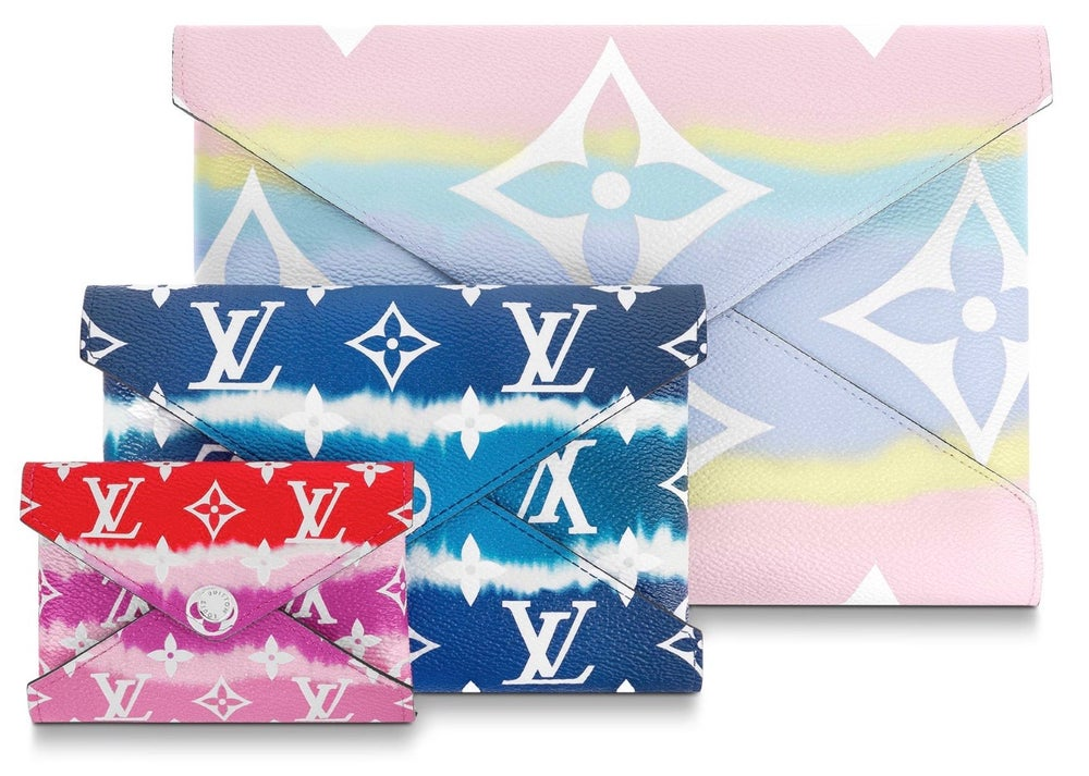 Image of Louis Vuitton Pochette Kirigami Escale Pastel Pink/Blue/Red Monogram Canvas Clutch
