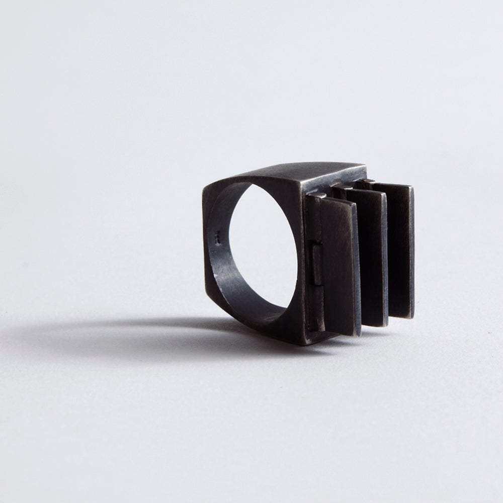 Image of MORPHISM RING — BLACK / SILVER