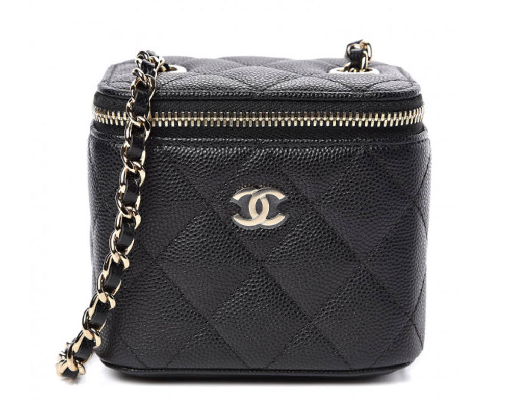Image of Chanel Caviar Mini Vanity Black Calfskin Leather Cross Body Bag