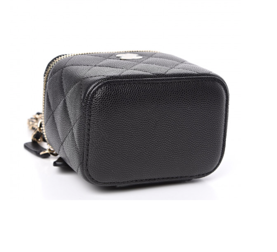 Image of Chanel Mini Vanity Black Calfskin Leather Cross Body Bag
