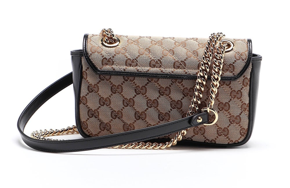 Image of Gucci Marmont Mini Beige and Black Gg Canvas Shoulder Bag