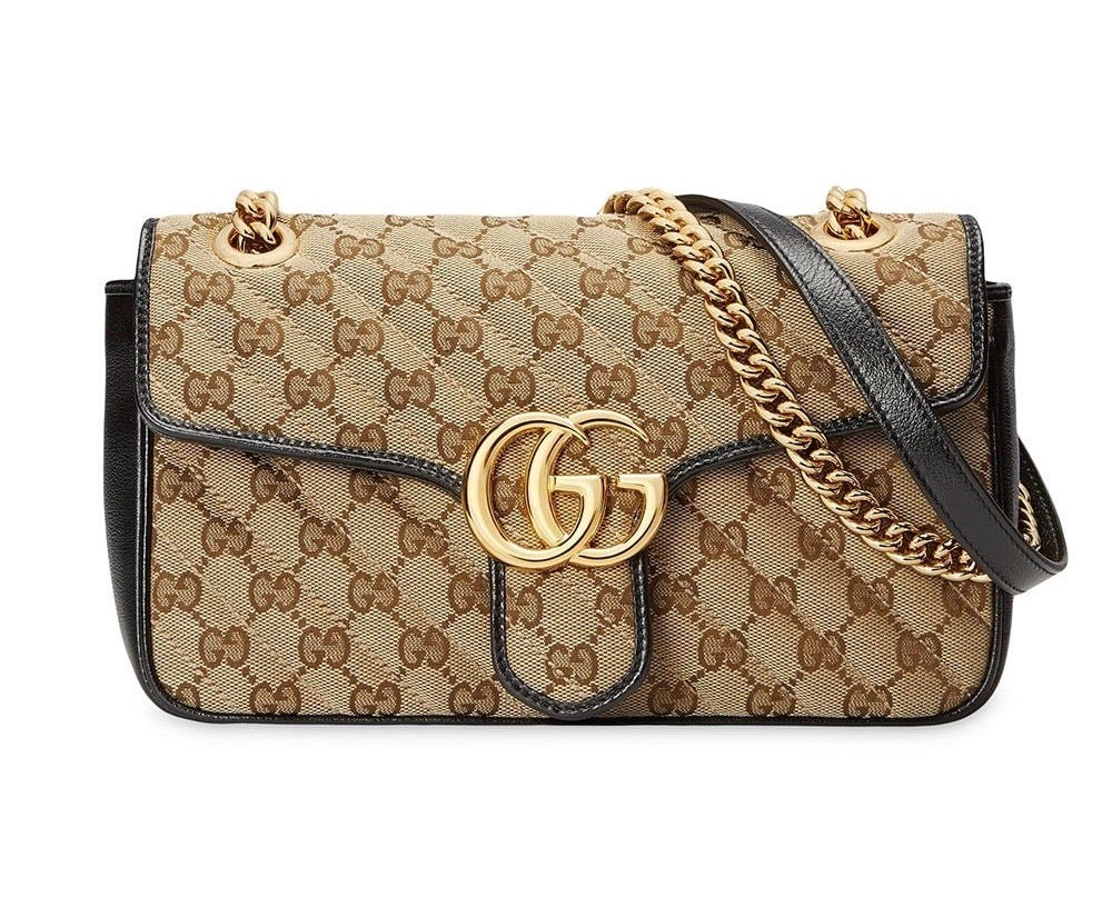 Image of Gucci Marmont Small Beige and Black Gg Canvas Shoulder Bag