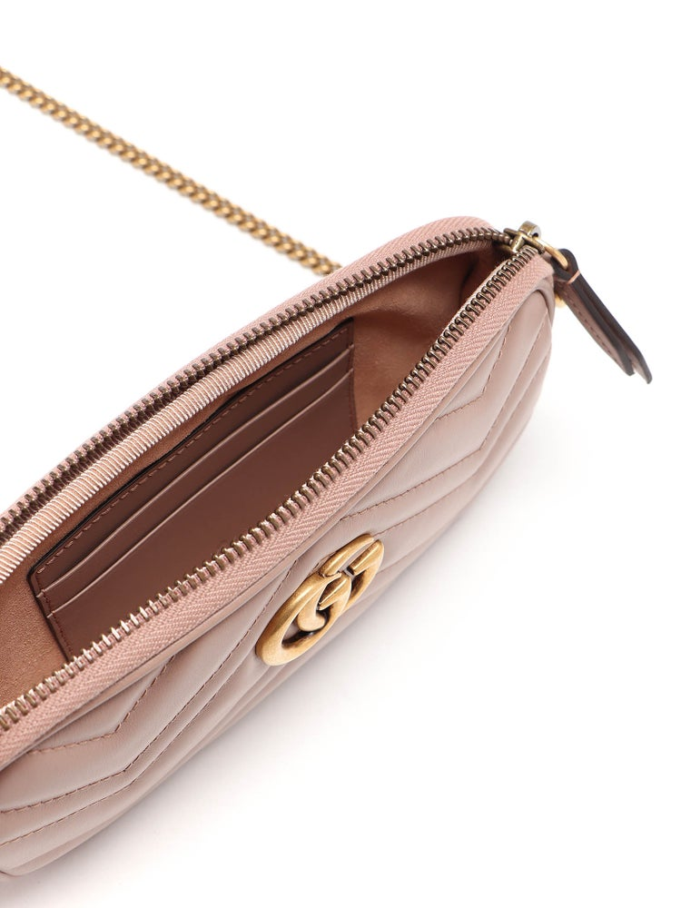 Image of Gucci Chain Wallet Marmont Gg Dusty Pink Leather Cross Body Bag