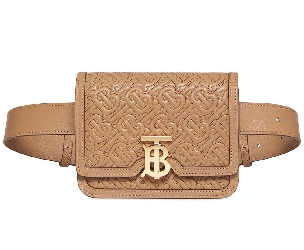 Image of Burberry Tb Monogram Quilted Belted Honey Leather Diaper Bag