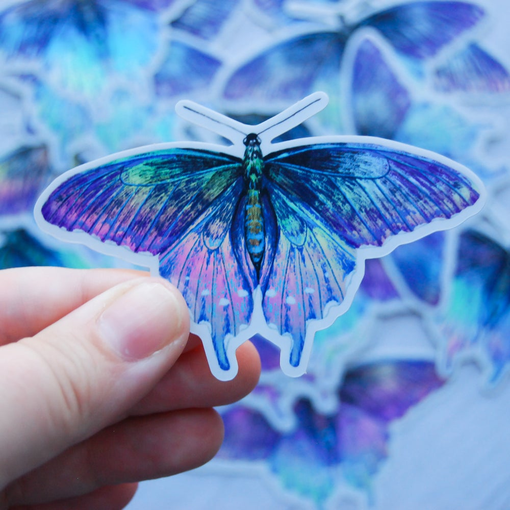 Image of Pipevine Swallowtail - Holographic Vinyl Sticker