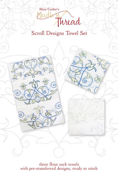 Image of Ready-to-Stitch Scroll Towel Set