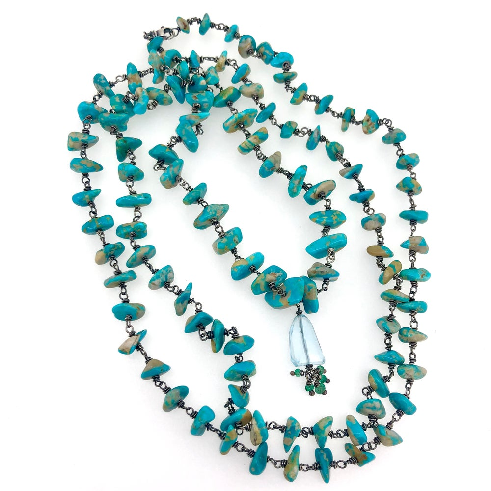 Image of Fox turquoise mala with topaz and emeralds