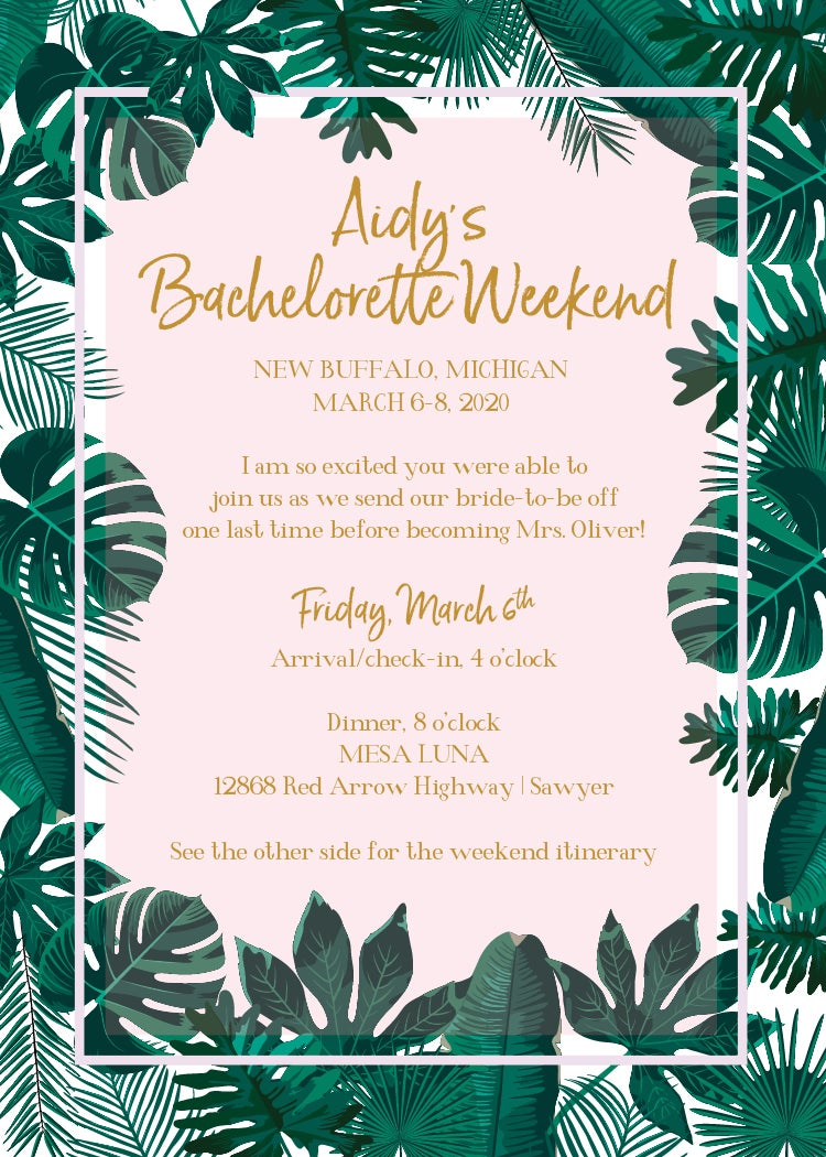 Palm Tree/Frond Invitation