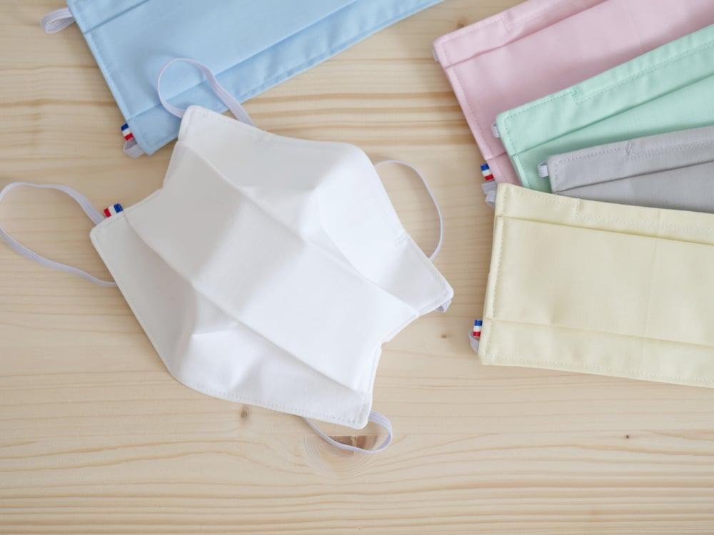 Image of Masque barrière AFNOR SPEC S76-001 avec barrette nasale 100% coton uni Premium pour ADULTE