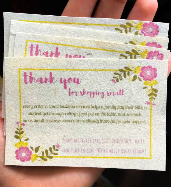 Image of seed paper thank you cards