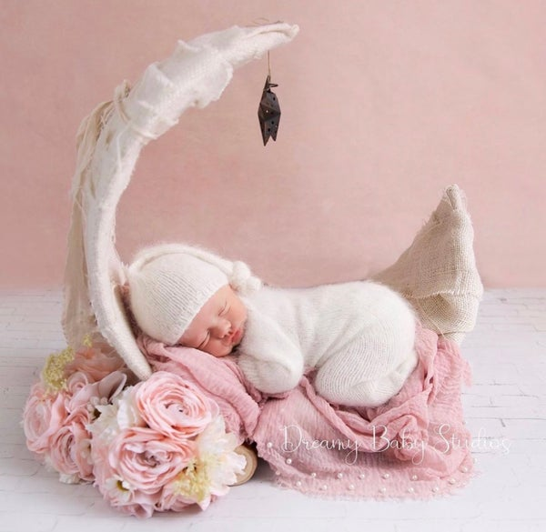 """Image of Natural White, Over the Moon! Rustic, Half Moon, Newborn Baby """"Poser"""" Photo Prop"""