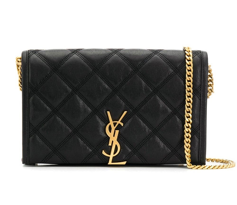 Image of Saint Laurent Chain Wallt On Black Lambskin Leather Cross Body Bag