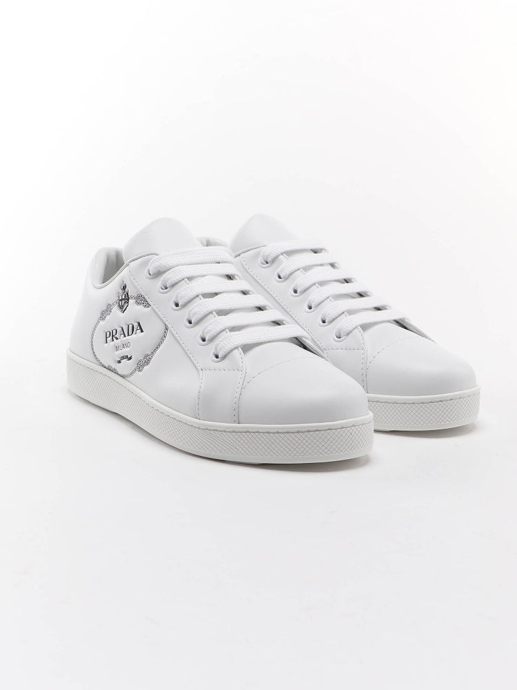 Image of Prada White One In Calf Leather Sneakers