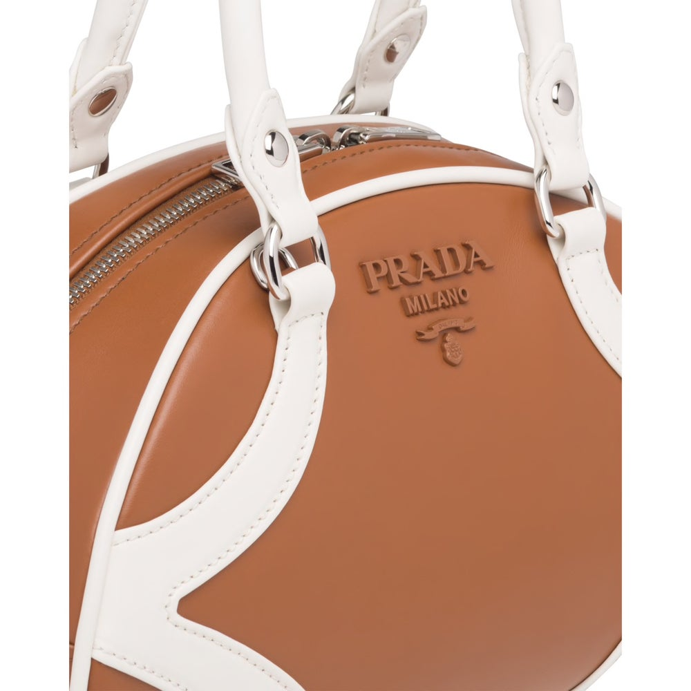 Image of Prada Bowling White/Brown Leather Tote