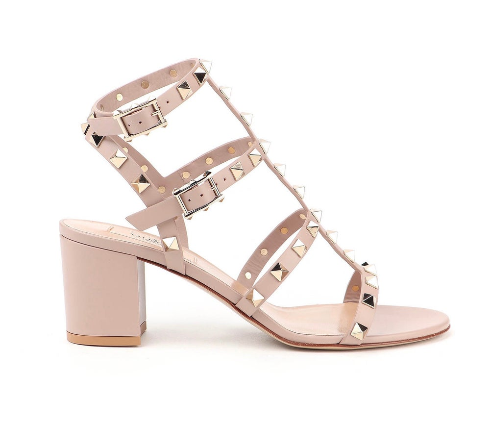 Image of Valentino Garavani Nude & Neutrals Rockstud 60mm In Calf Leather Sandals