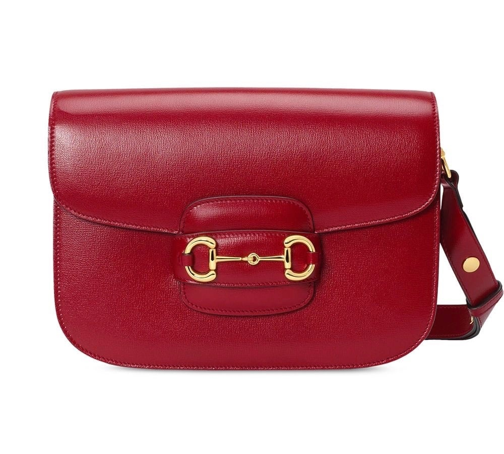 Image of Gucci Horsebit 1955 Red Leather Shoulder Bag