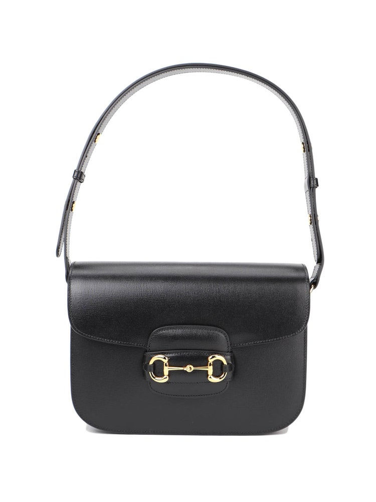 Image of Gucci Horsebit 1955 Black Leather Shoulder Bag