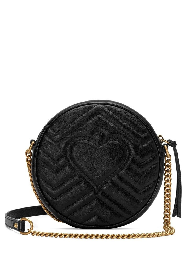 Image of Gucci Shoulder Marmont Gg Mini Round Black Matelassé Leather Cross Body Bag