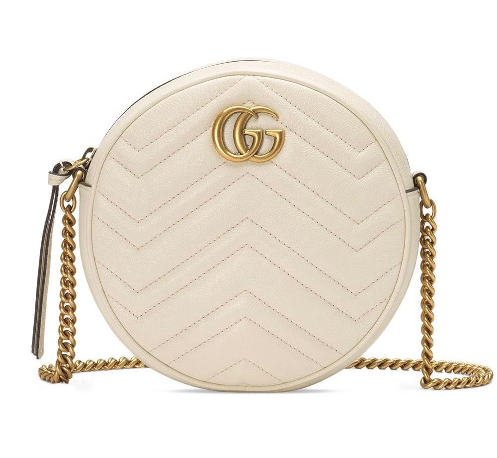 Image of Gucci Shoulder Marmont Gg Mini Round White Matelassé Leather Cross Body Bag