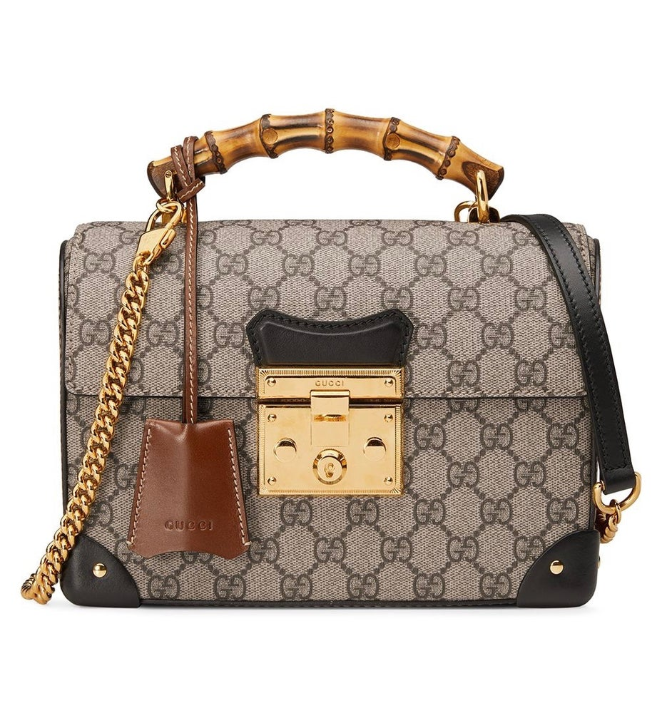 Image of Gucci Padlock Small Bamboo Beige/Ebony Gg Supreme Canvas Cross Body Bag