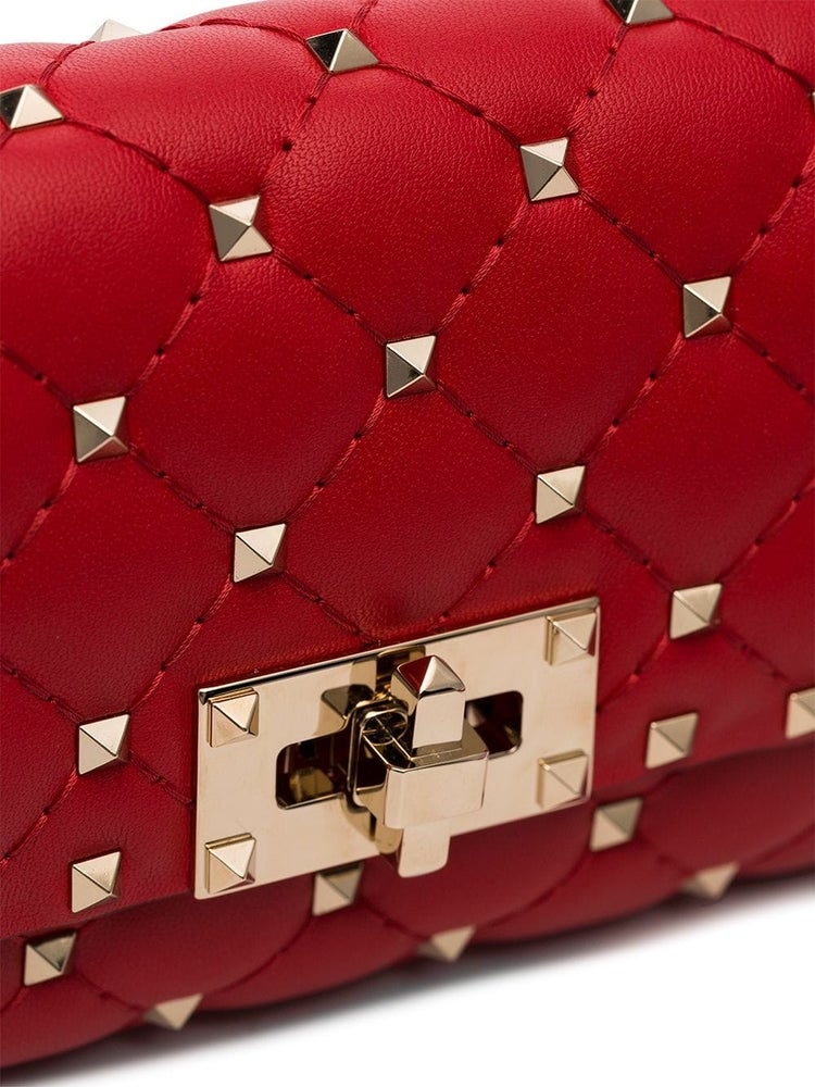 Image of Valentino Belt Rocketed Red Calfskin Leather Cross Body Bag