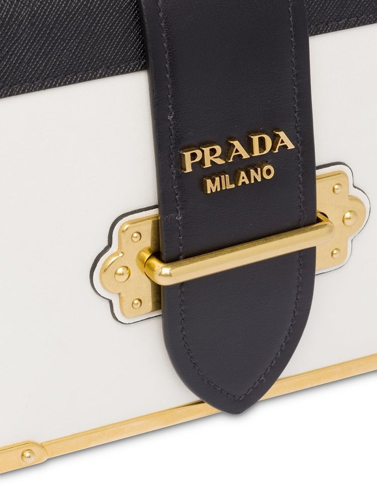 Image of Prada Cahier Black and White Leather Shoulder Bag