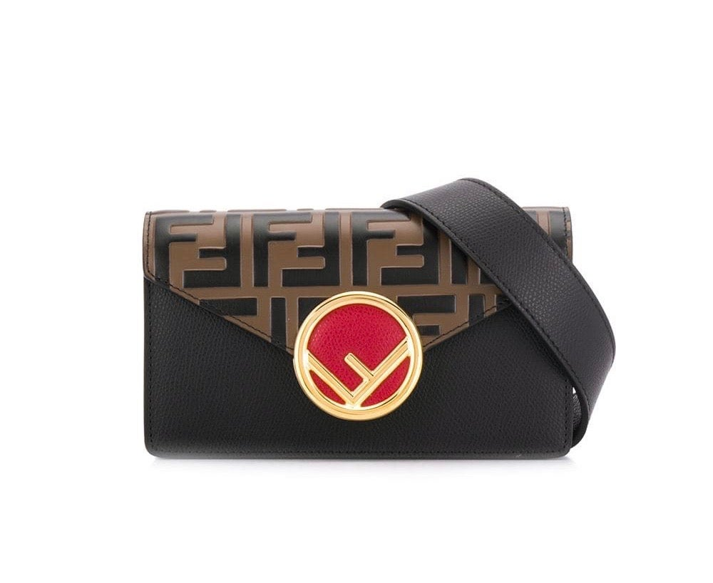 Image of Fendi Belt Red/Brown/Black Calfskin Leather Cross Body Bag