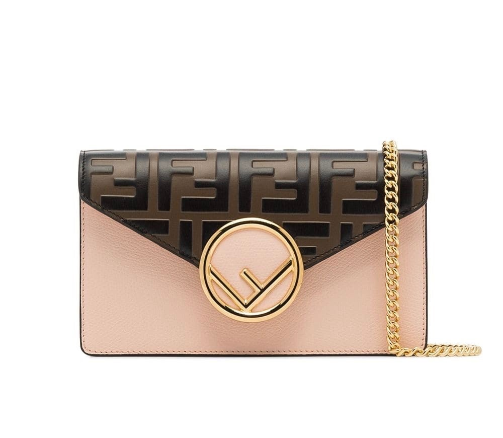 Image of Fendi Belt Beige/Brown/Black Calfskin Leather Cross Body Bag