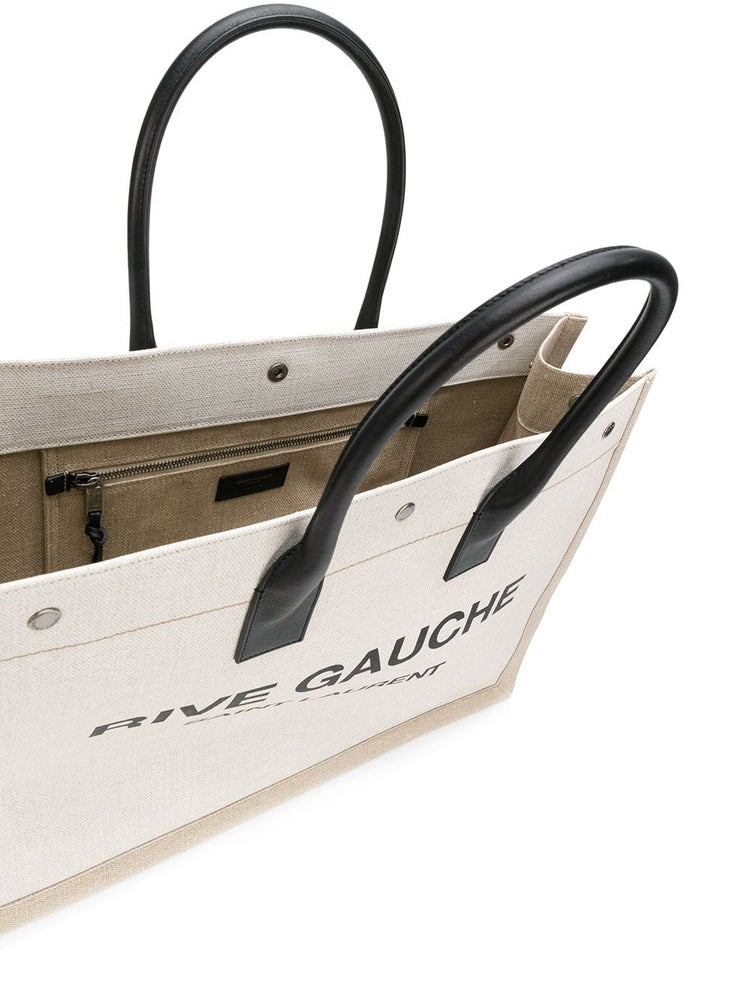 Image of Saint Laurent Rive Gauche White/Beige Linen Tote