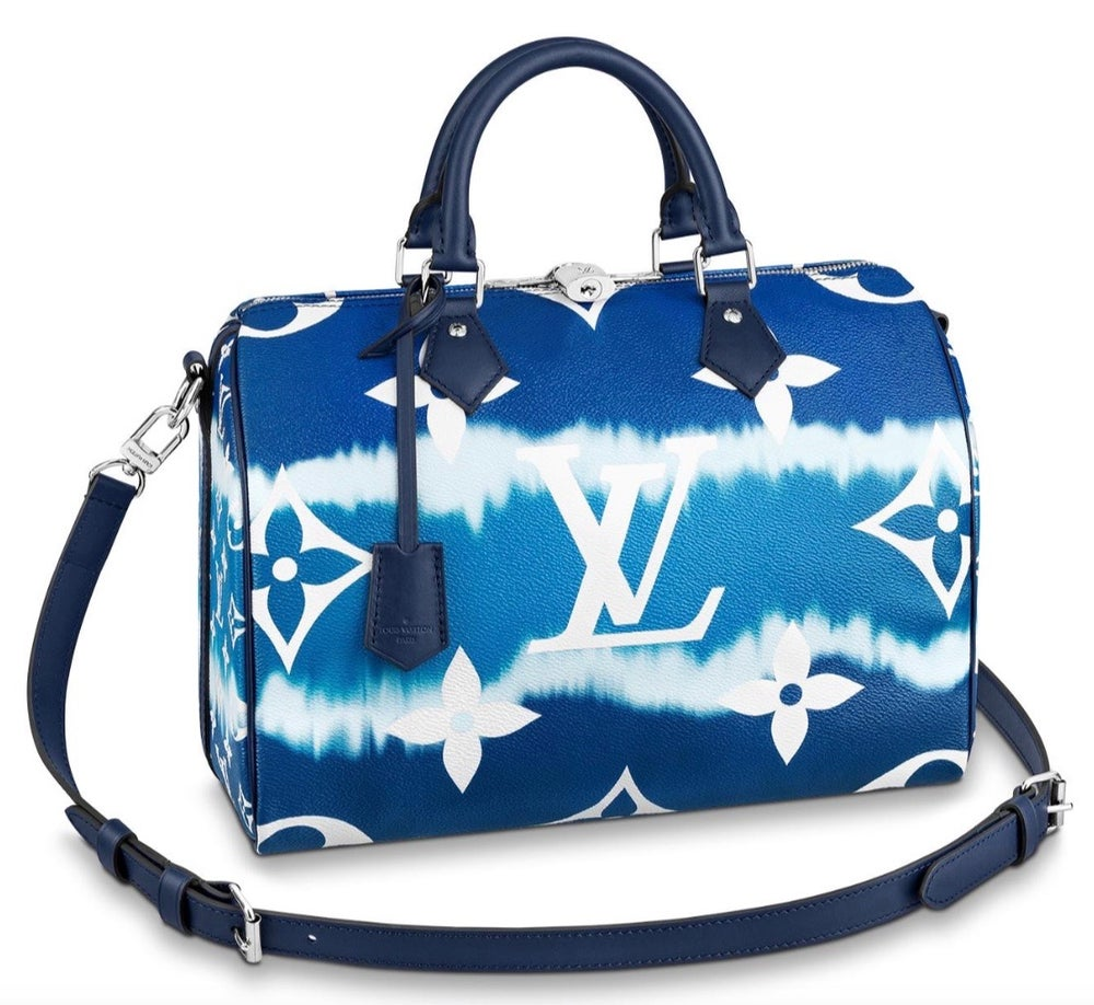 Image of Louis Vuitton Speedy Escale Bandouliere Bleu Monogram Canvas Cross Body Bag