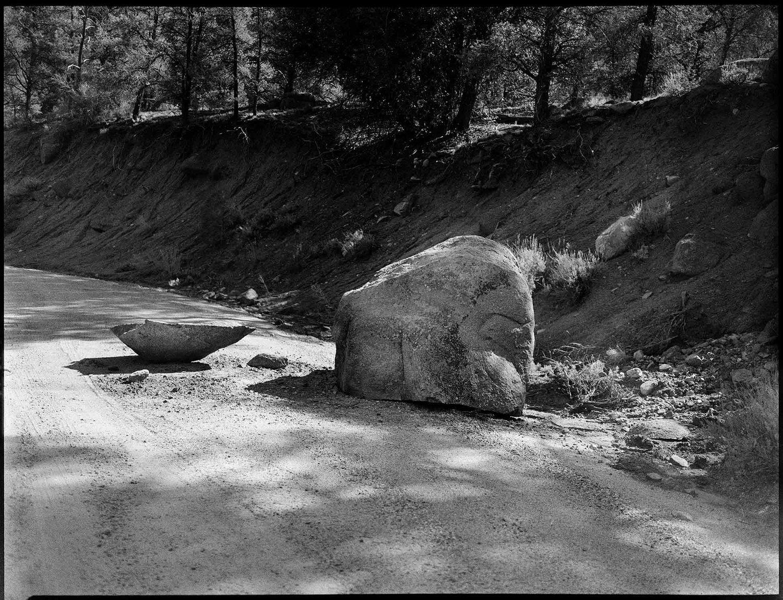 Road To Chimmney Peak Blocked By Broken Boulder