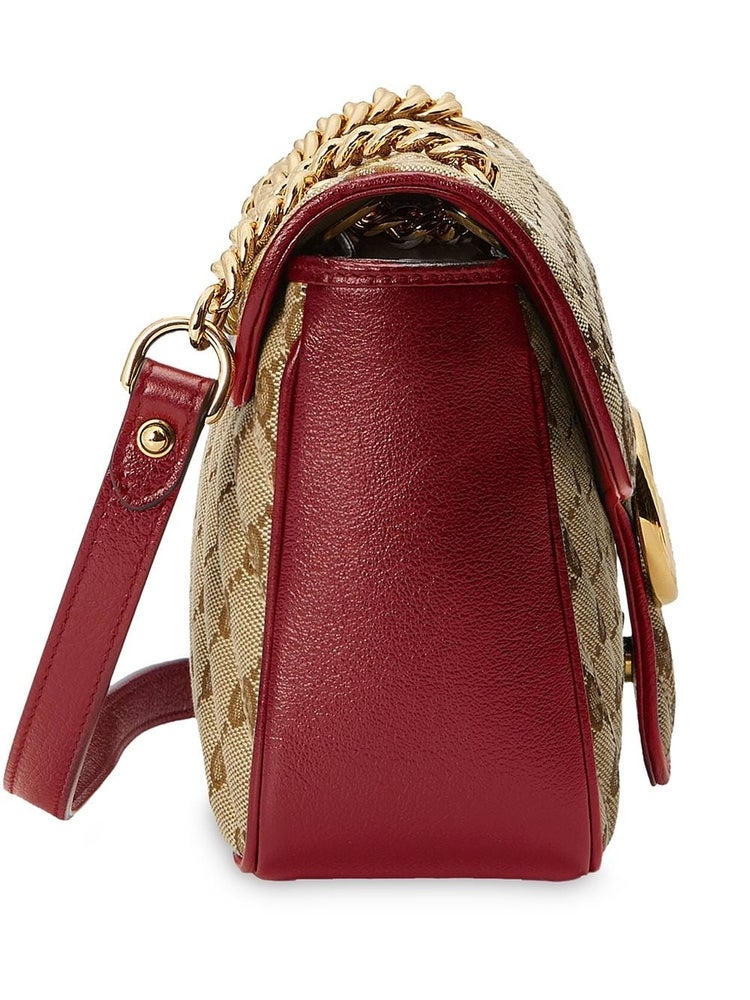 Image of Gucci Marmont Gg Small Beige Shoulder Bag