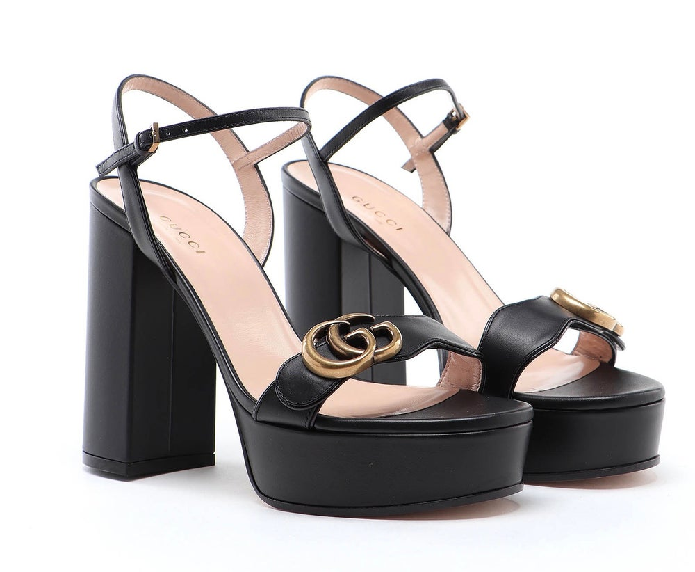 Image of Gucci Black Leather In Calf Leather Sandals