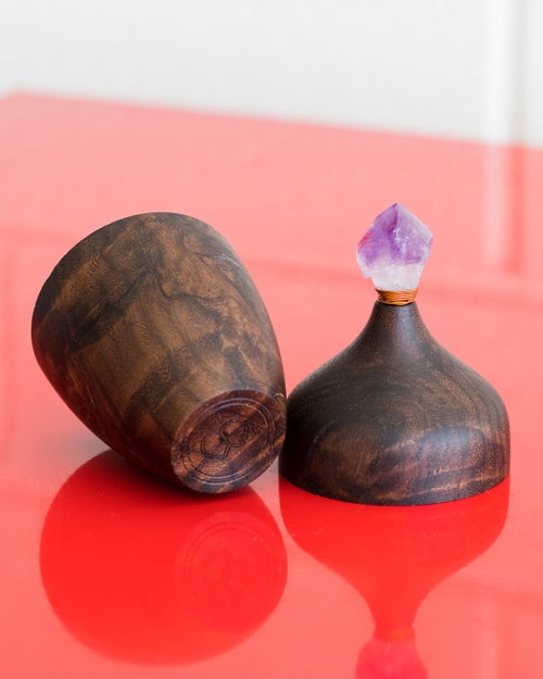 Image of Walnut Box with Real Amethyst and Purple Fluorite Inlay