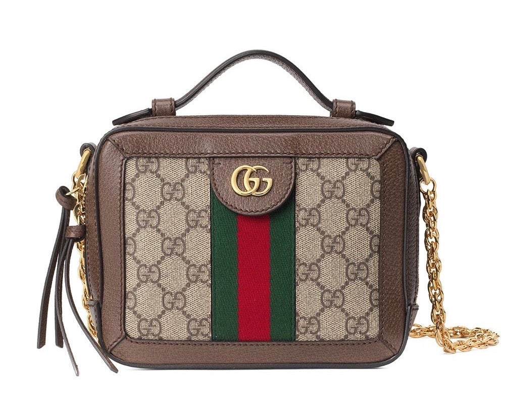 Image of Gucci Mini Ophidia Brown Gg Supreme Canvas Cross Body Bag