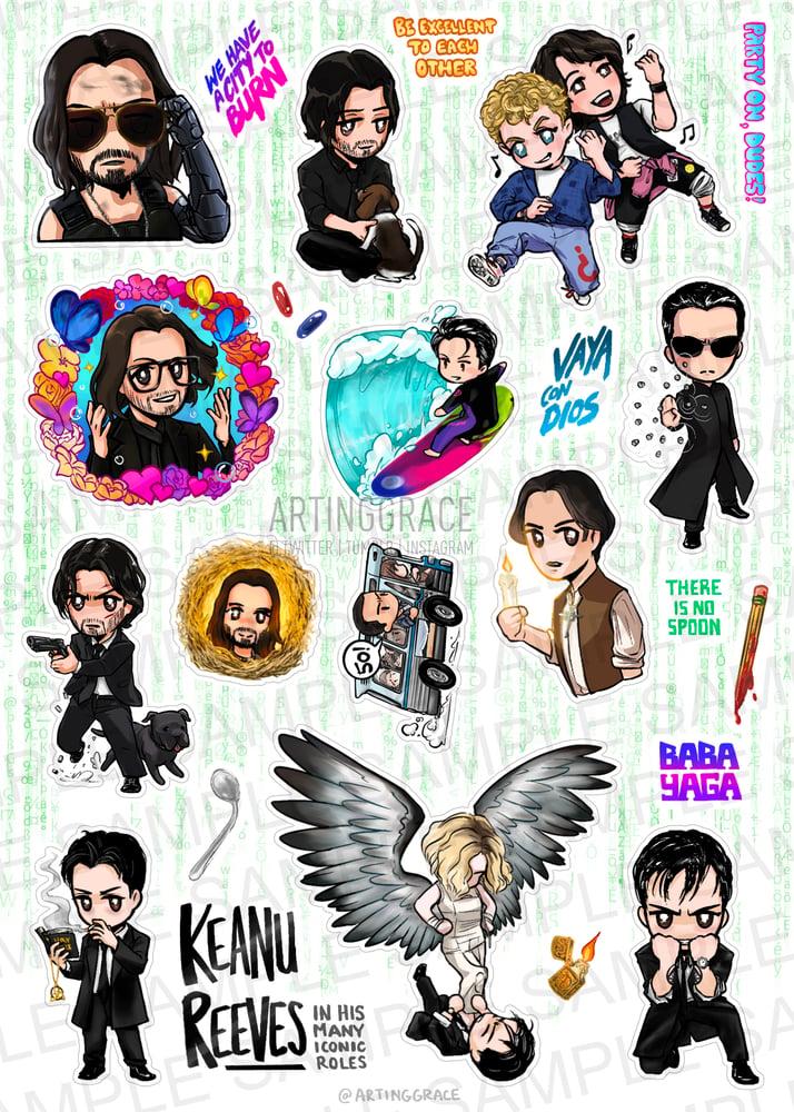 Image of PREORDER [Sticker Sheet] Keanu Reeves