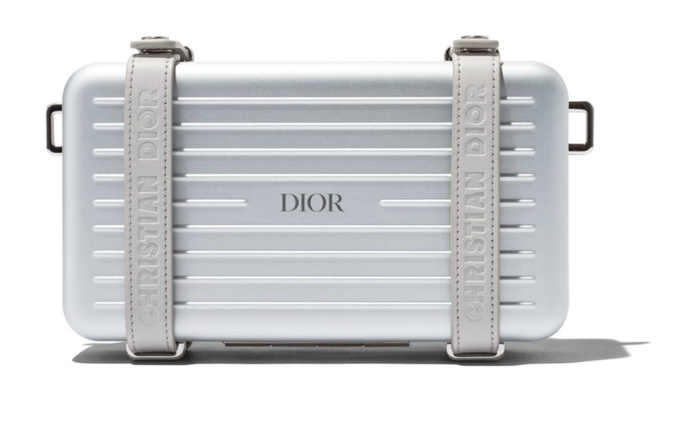 Image of Dior DiorXRimowa Gray Aluminum and Leather Cross Body Bag