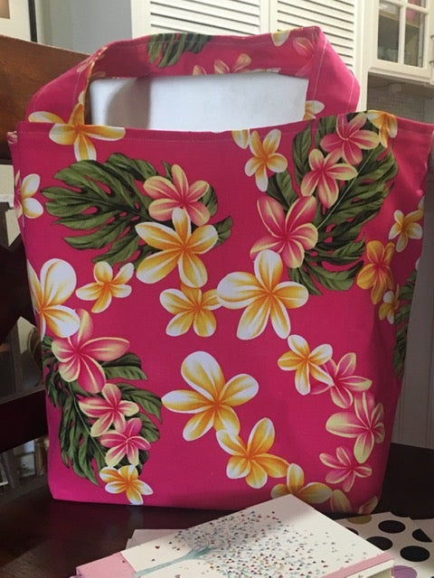 On Sale! 20% Off! Regular $45.00 Delightful Pink Plumeria Tote