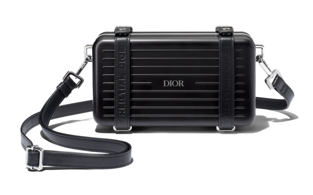 Image of Dior DiorXRimowa Black Aluminum and Leather Cross Body Bag
