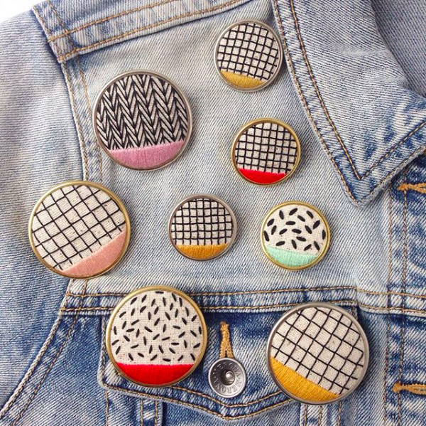 """Hand Stitched """"Pattern Play"""" Pins"""