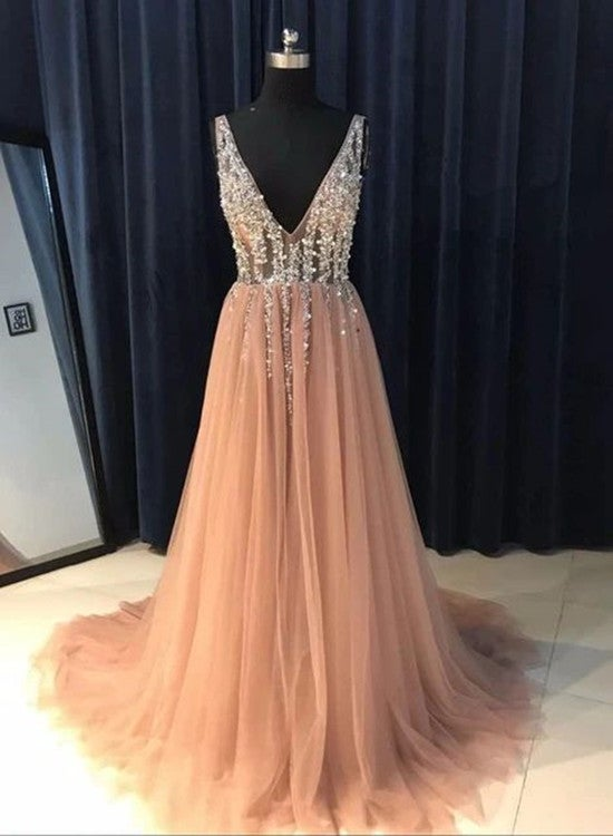 Lovely Pink Tulle Beaded Long Party Gown, Pink Prom Dresses