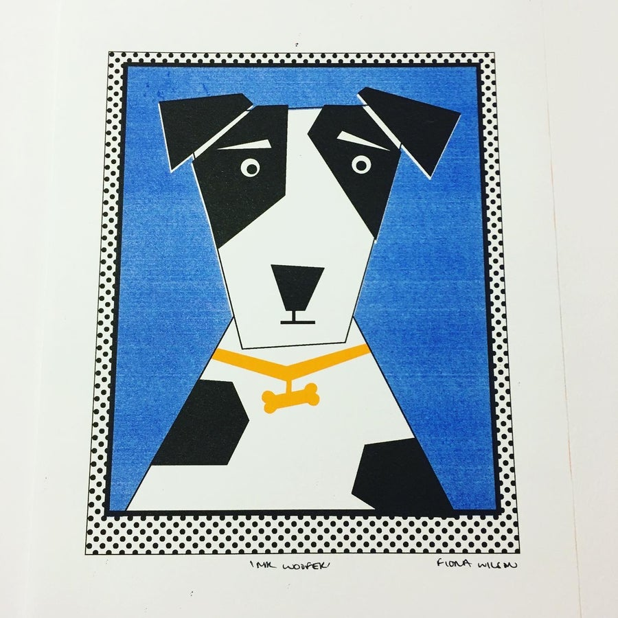 Image of A4 Mr Woofer Black and White Terrier Riso Print