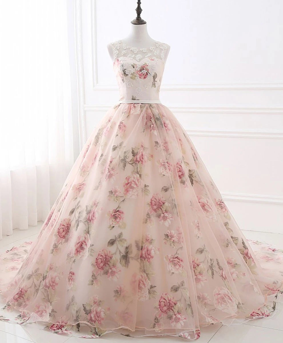 Gorgeous Floral Pink Organza Ball Gown Party Dress, Sweet 16 Dresses