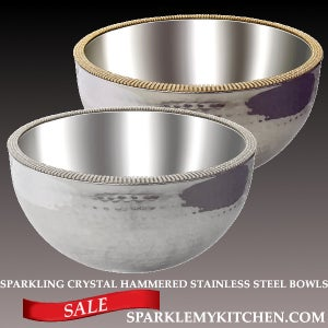 Image of Sparkling Crystal Hammered Bowls
