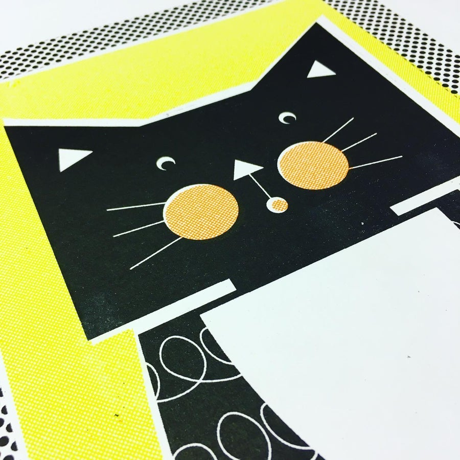 Image of A4 Black and White Cat RIso Print