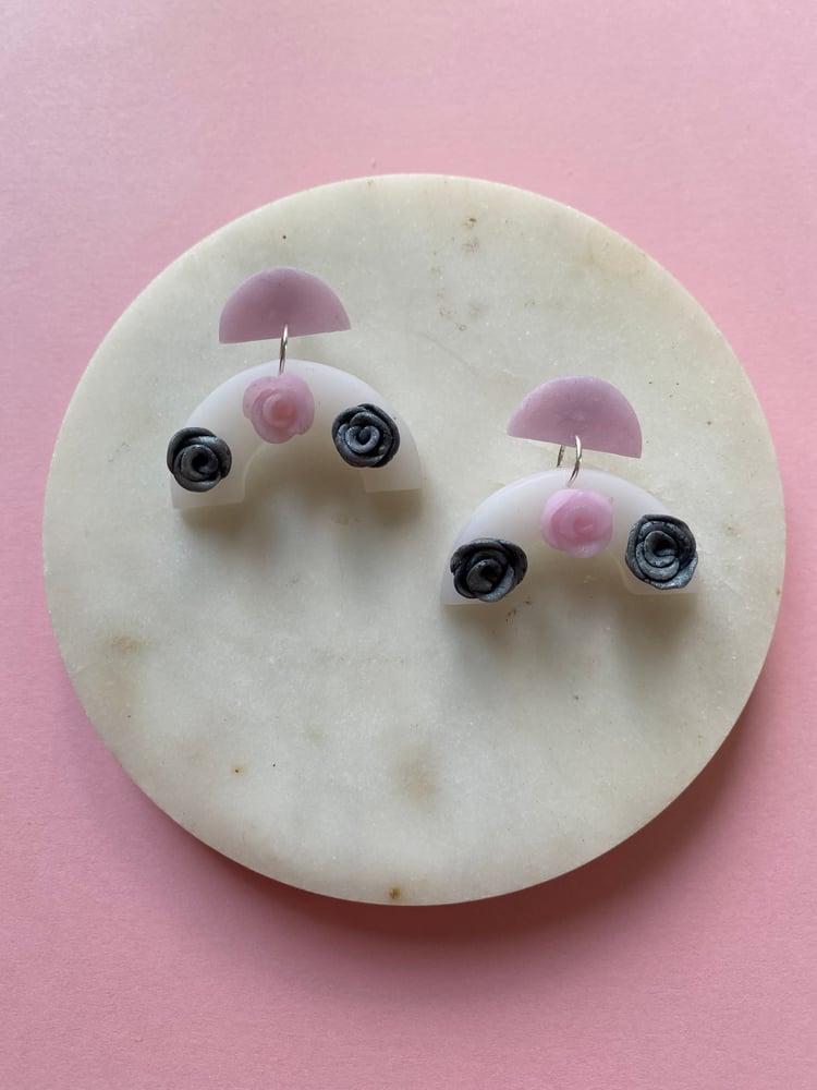 Image of Rose semi-circle earrings